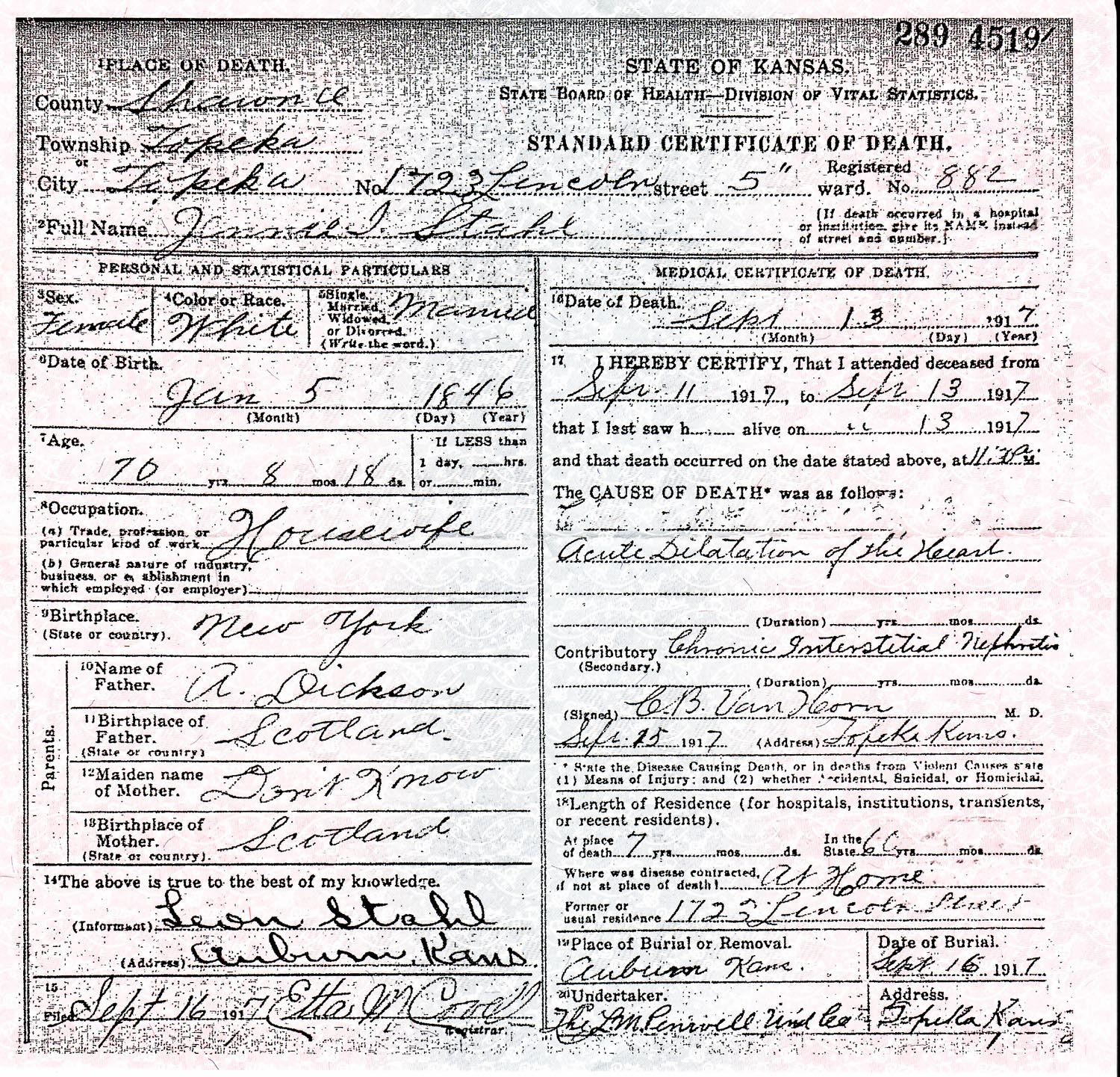 5) Will, Osage County, KS 1931 ; 6) Death Certificate